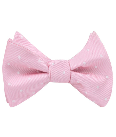 Soft Pink Polka Dots Self Bow Tie