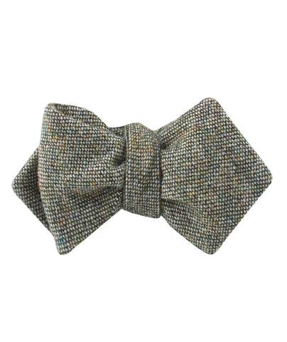 Southdown Donegal Green Wool Diamond Self Bow Tie
