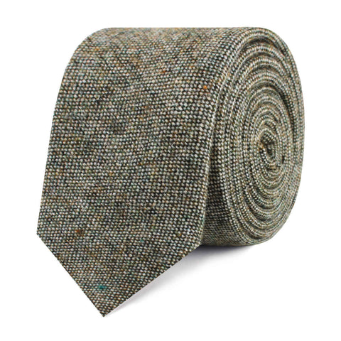 Southdown Donegal Green Wool Skinny Tie