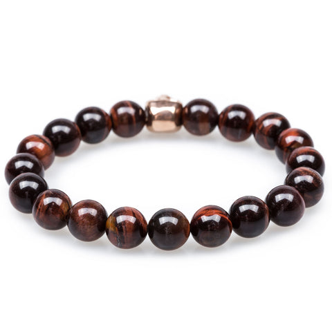 Spartacus Red Tiger Eye Rose Gold Skull Bracelet