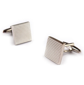 Square Small Studded Silver Cufflinks