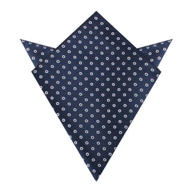 St Barts Navy Polka Dot Pocket Square