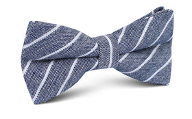 Starry Night Blue Pinstripe Linen Bow Tie