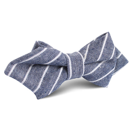 Starry Night Blue Pinstripe Linen Diamond Bow Tie