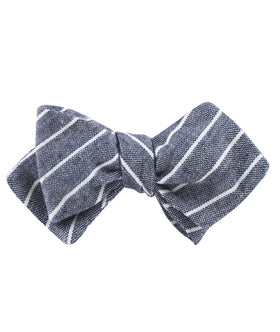 Starry Night Blue Pinstripe Linen Diamond Self Bow Tie