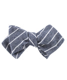 Starry Night Blue Pinstripe Linen Diamond Self Bowtie