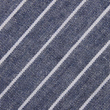 Starry Night Blue Pinstripe Linen Fabric Self Bowtie