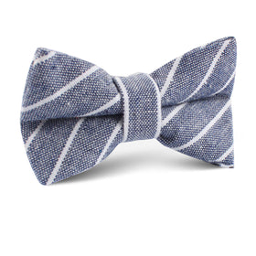 Starry Night Blue Pinstripe Linen Kids Bow Tie