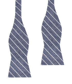 Starry Night Blue Pinstripe Linen Self Bow Tie