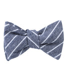 Starry Night Blue Pinstripe Linen Self Tied Bowtie