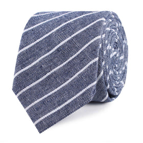 Starry Night Blue Pinstripe Linen Skinny Tie