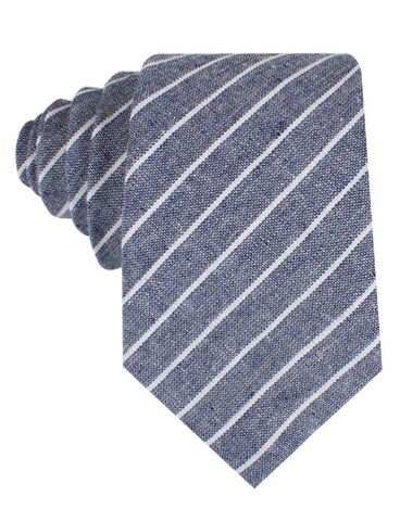 Starry Night Blue Pinstripe Linen Tie