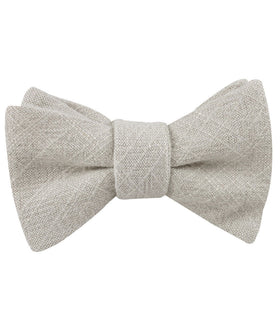 Sterling Silver Grey Linen Self Bow Tie