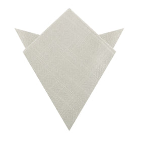 Sterling Silver Grey Linen Pocket Square