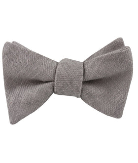 Stone Grey Portobello Slub Linen Self Bow Tie