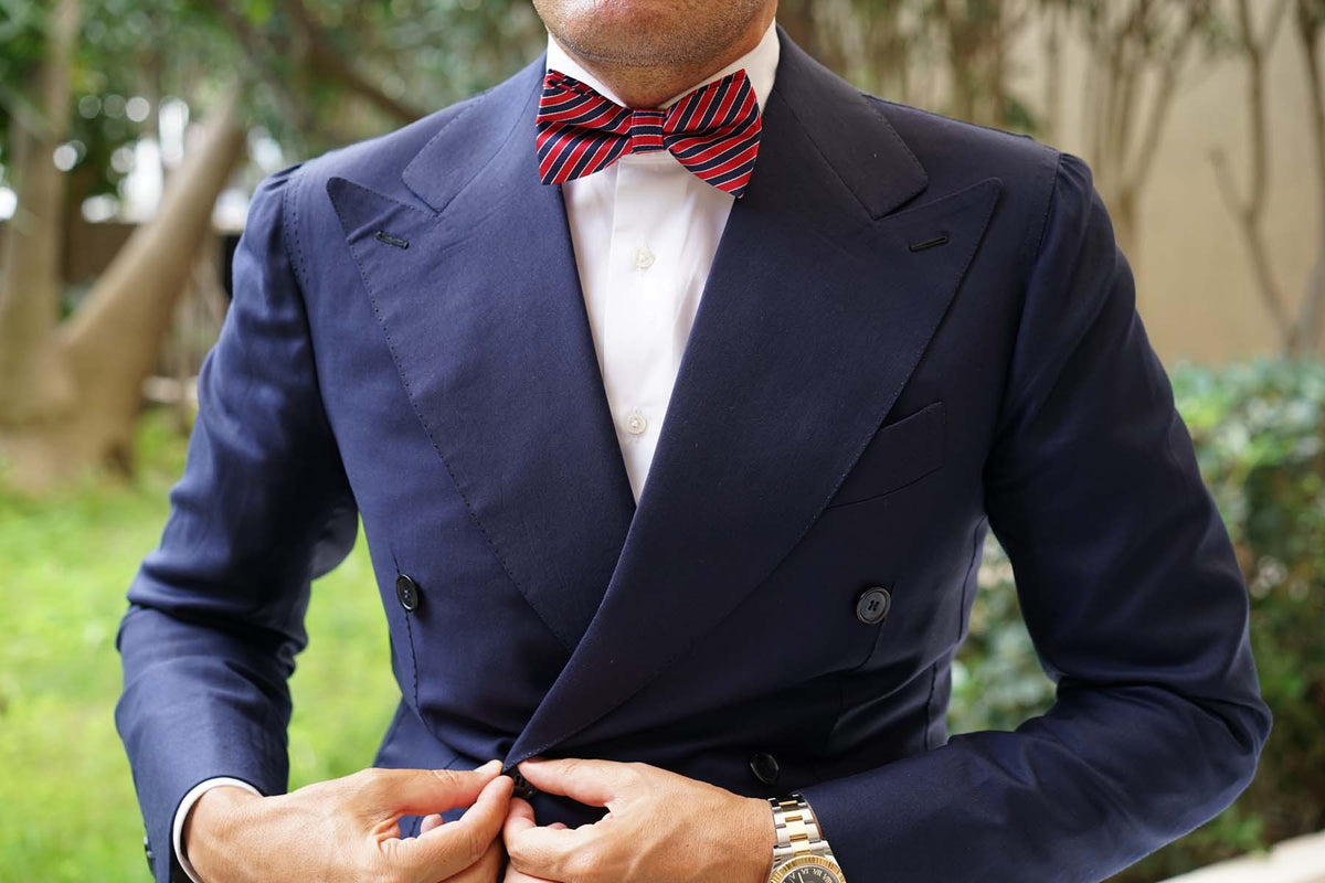 Striped Maroon with Navy Blue Bow Tie