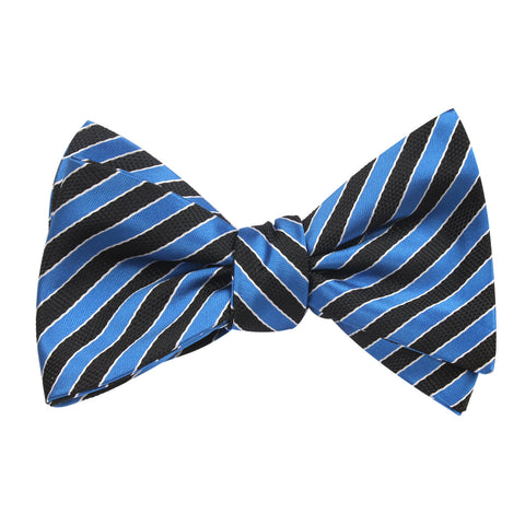 Striped Blue Black Bow Tie Untied