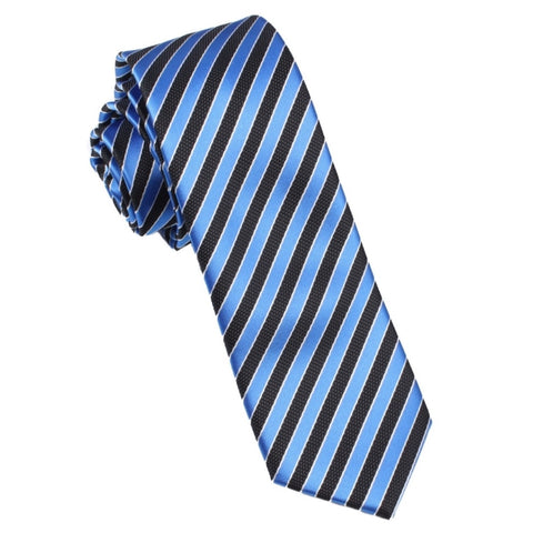 Striped Blue Black Skinny Tie