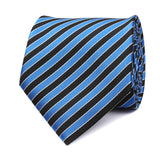Striped Blue Black Tie Front View