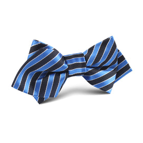 Striped Blue with Black Diamond Bow Tie