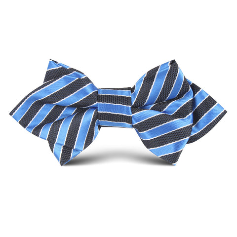 Striped Blue with Black Kids Diamond Bow Tie