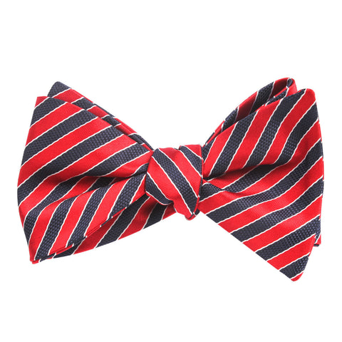 Striped Maroon with Navy Blue Bow Tie Untied