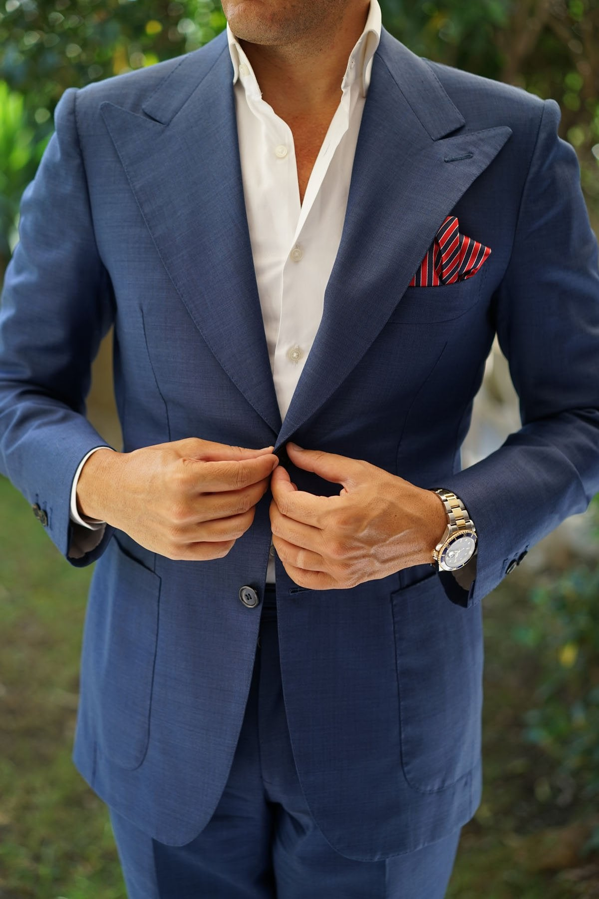 Striped Maroon with Navy Blue Pocket Square