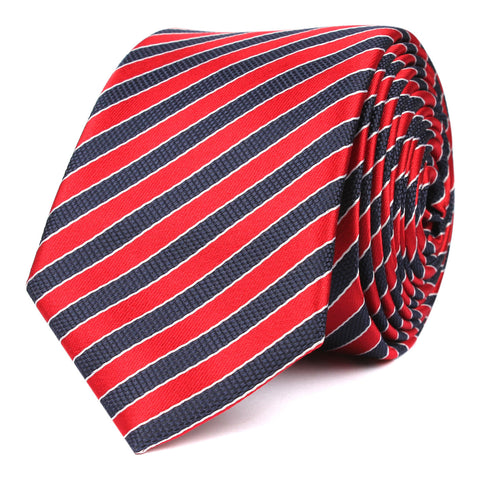 Striped Maroon with Navy Blue Skinny Tie