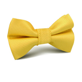 Sunflower Yellow Basket Weave Kids Bow Tie
