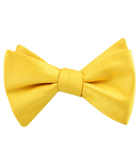 Sunflower Yellow Basket Weave Self Bow Tie