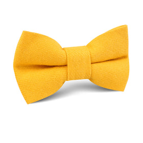 Sunflower Yellow Chevron Linen Kids Bow Tie