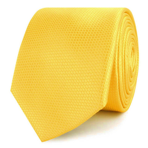 Sunflower Yellow Basket Weave Skinny Tie
