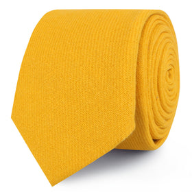 Sunflower Yellow Chevron Linen Skinny Tie