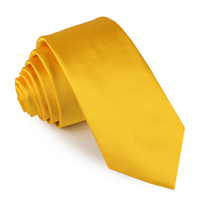 Sunflower Yellow Satin Skinny Tie