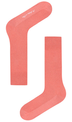 Sunset Dark Peach Ribbed Socks