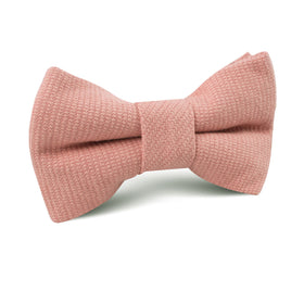 Sunset Peach Linen Twill Kids Bow Tie