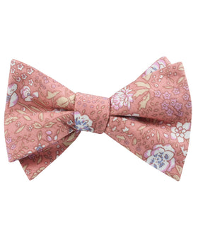 Sunset Pink Floral Self Bow Tie