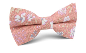 Sunset Pink Floral Bow Tie