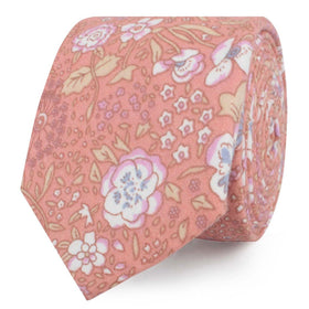 Sunset Pink Floral Skinny Tie
