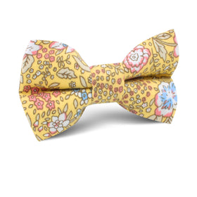 Tahitian Yellow Floral Kids Bow Tie