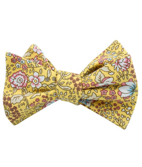 Tahitian Yellow Floral Self Bow Tie