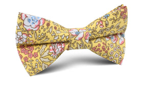 Tahitian Yellow Floral Bow Tie
