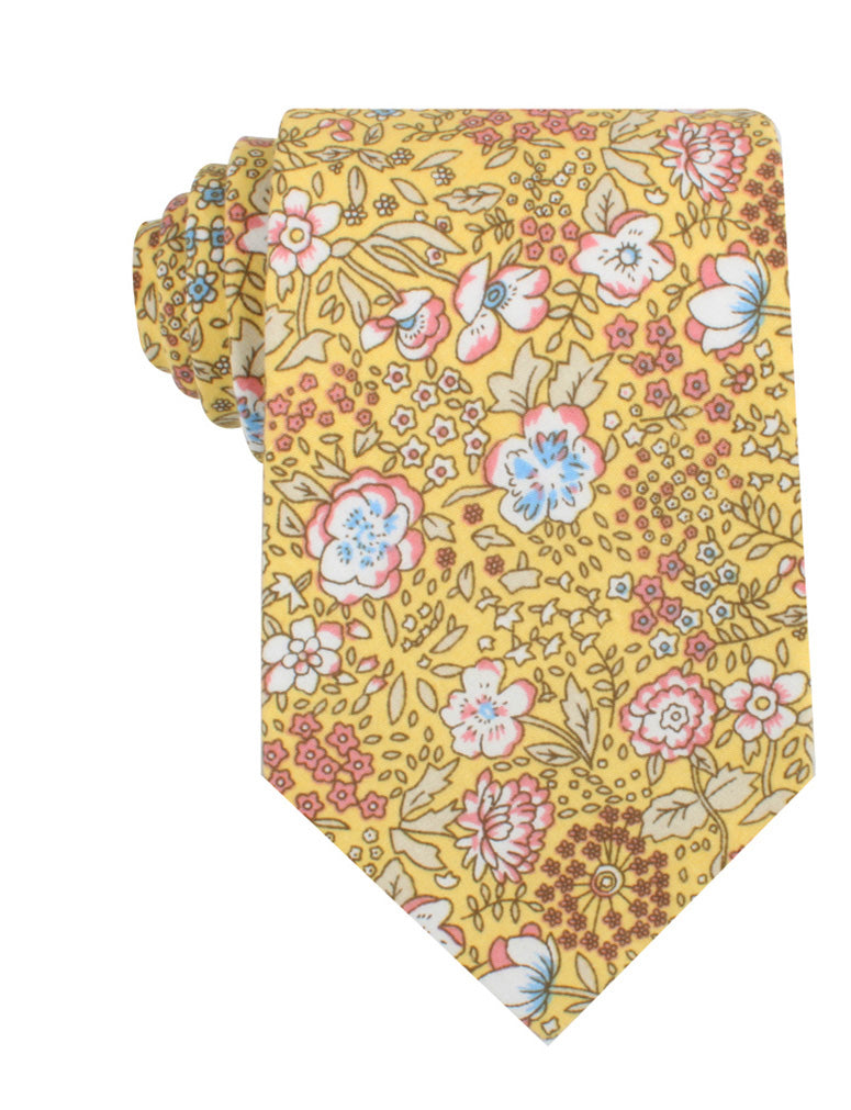 Tahitian Yellow Floral Necktie