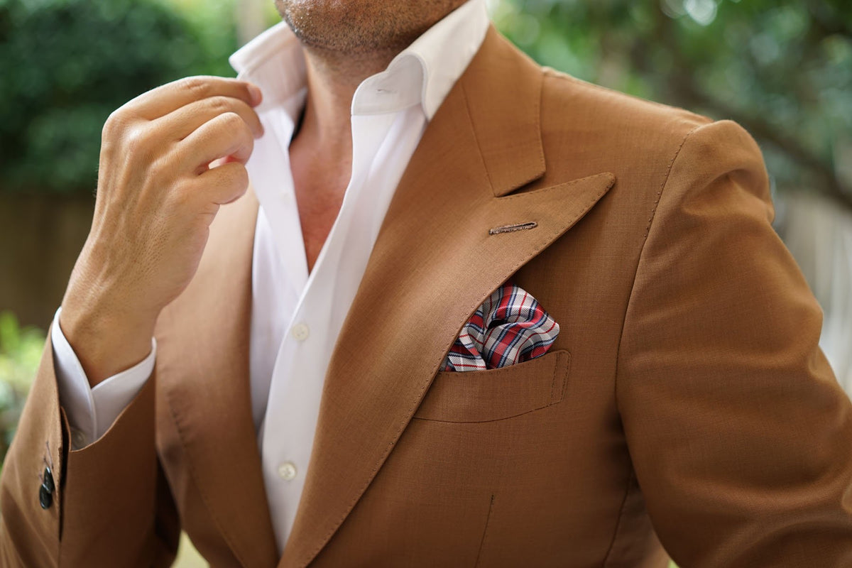 Tango Maroon with Blue Stripes Pocket Square