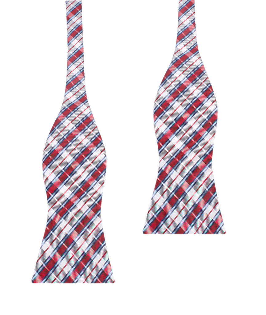 Tango Maroon with Blue Stripes Self Tie Bow Tie