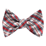 Tango Maroon with Blue Stripes Self Tie Bow Tie Self tied knot by OTAA