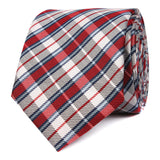 Tango Maroon with Blue Stripes Skinny Tie OTAA roll