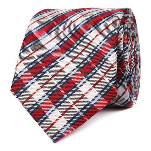 Tango Maroon with Blue Stripes Skinny Tie