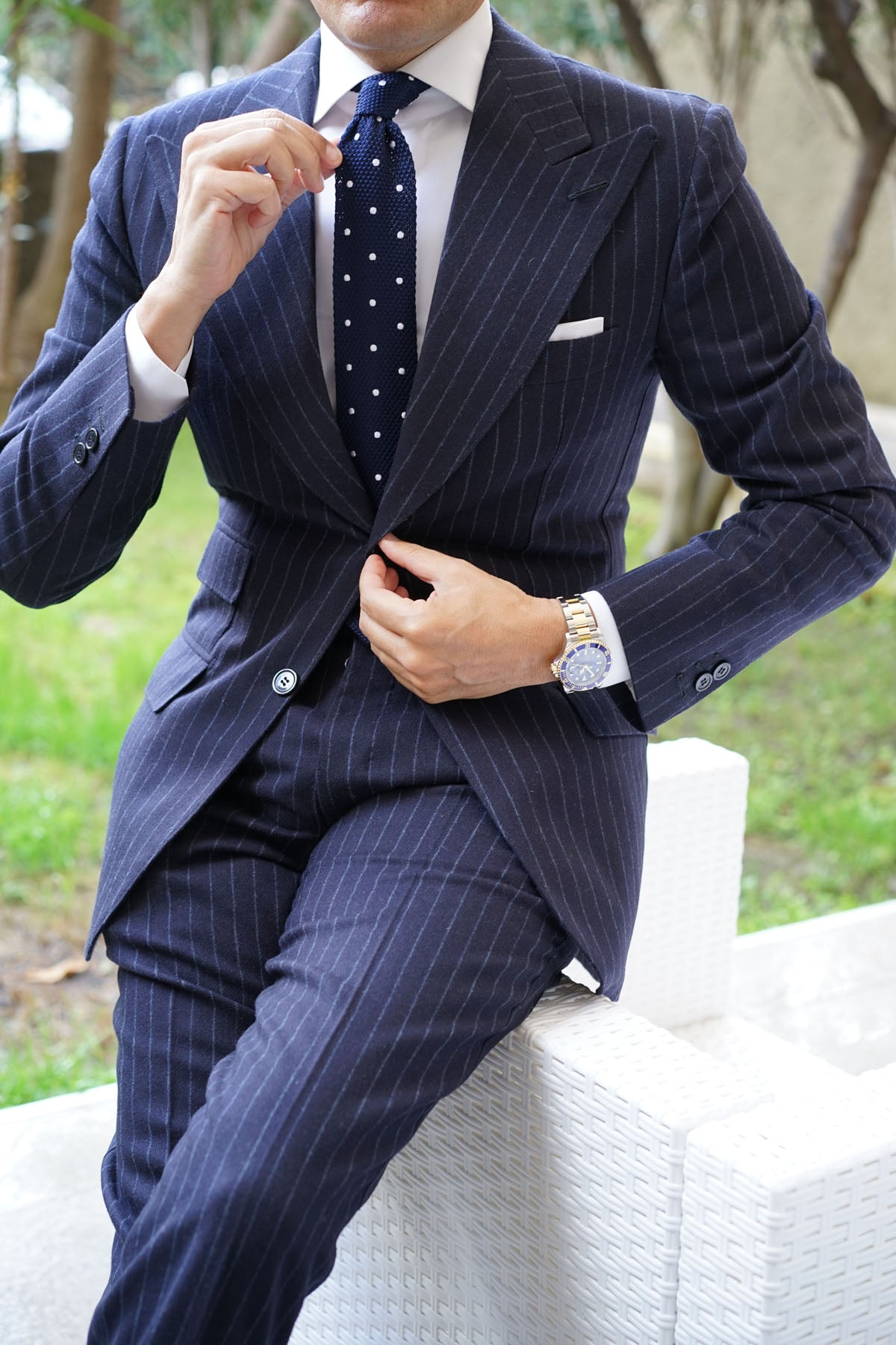 Tao Navy Polka Dot Knitted Tie
