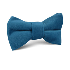 Teal Blue Velvet Kids Bow Tie